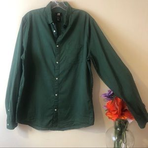 Green H&M Relaxed Fit Button Down Shirt